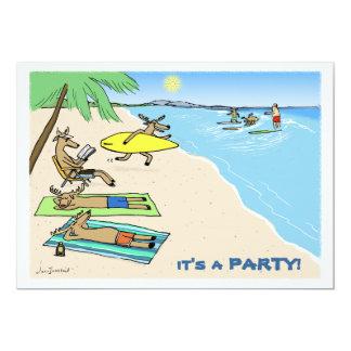 """""""Yule Tide"""" - Santa and Reindeer Beach Vacation Card"""
