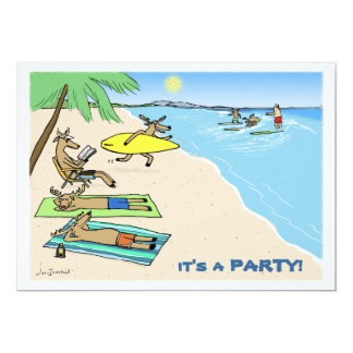 """Yule Tide"" - Santa and Reindeer Beach Vacation 5"" X 7"" Invitation Card"