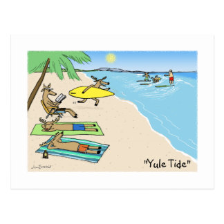 """""""Yule Tide"""" - Santa and Reindeer Beach Vacation Postcard"""