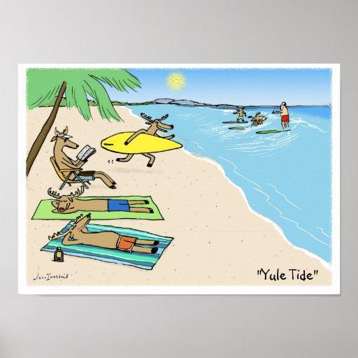 """""""Yule Tide"""" - Santa and Reindeer Beach Vacation Posters"""