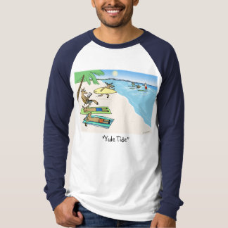 """Yule Tide"" - Santa and Reindeer Beach Vacation T-Shirt"