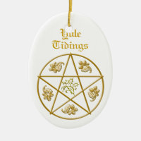 Yule Tidings Gold Pentacle, Holly & Oak Ceramic Ornament