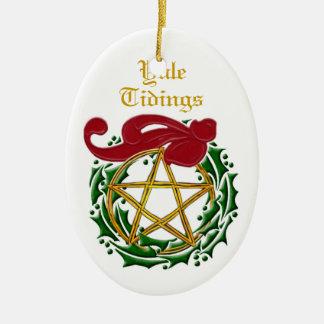 Yule Tidings Pentacle & Wreath 2 Ceramic Ornament