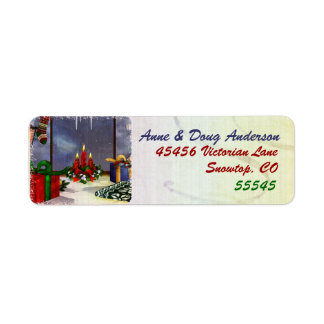 Yule Time Reflections Holiday Art Label