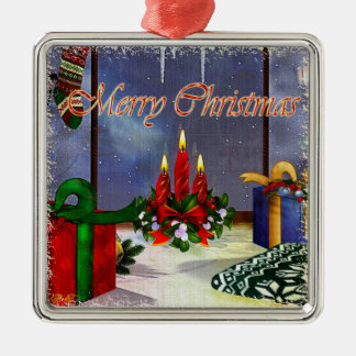 Yule Time Reflections Holiday Art Metal Ornament