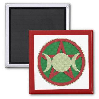 Yule Triple Goddess Pentagram 2 Inch Square Magnet