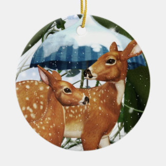 Yule Winter Fawn Deer Personalized Round Ornament