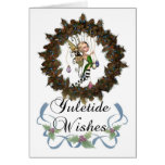 Yuletide, Holiday Card With Cute Fairy In Holly Wr