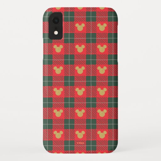 Yuletide Joy | Mickey Christmas Plaid Pattern iPhone XR Case