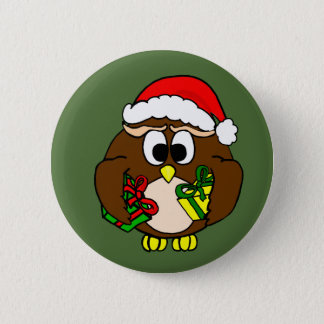 Yuletide Owl With Green Background Pinback Button