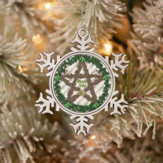 Yuletide Pentacle Snowflake Pewter Christmas Ornament