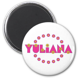 Yuliana in Flores Pink Refrigerator Magnet