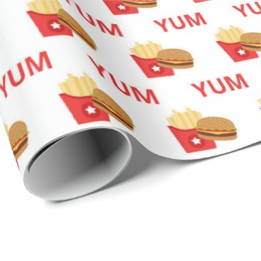 Beach Themed Yum burgers and fries party wrap wrapping paper