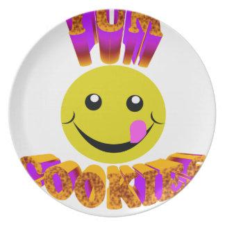 yum cookies dinner plate