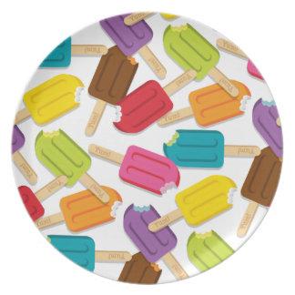 ¡Yum! Estilo 2 (blanco) de la placa del Popsicle Plato De Comida