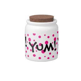 Yum! Pink Polka Dot Candy / Cookie / Gift Jar Candy Jar