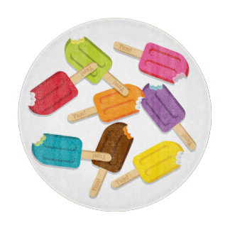 Yum! Popsicle Round Cutting Board