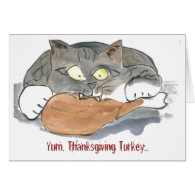 Yum, Thanksgiving turkey says gray tiger kitten Greeting Cards