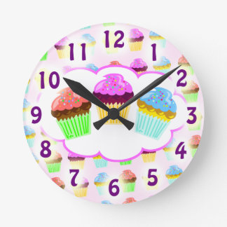 Yum Yum Cupcake Time Round Clock