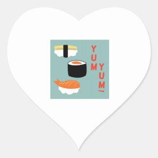 Yum Yum Sushi Heart Stickers