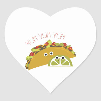 Yum Yum Taco Heart Sticker
