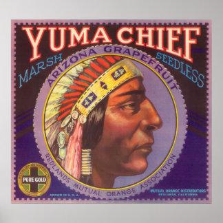 Yuma Chief Orange LabelRedlands, CA Poster
