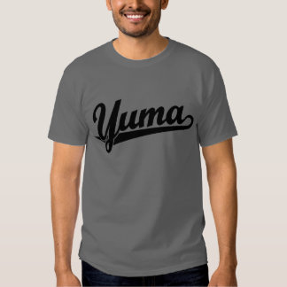 Yuma script logo in black t-shirt