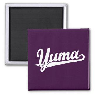 Yuma script logo in white 2 inch square magnet