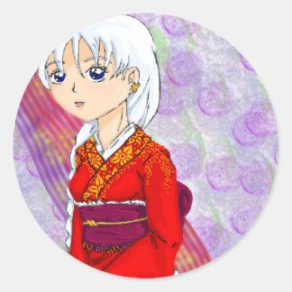 Yumes Red Kimino Classic Round Sticker