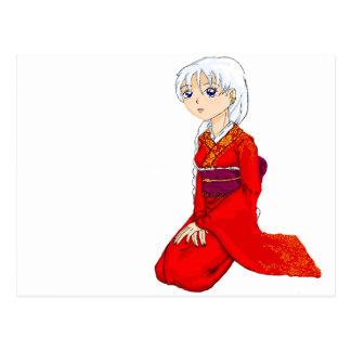 Yumes Red Kimono Postcard