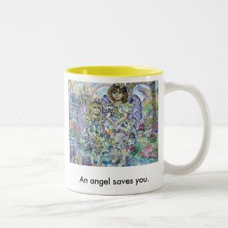 yumi sugai An angel of the purple., An angel sa... Two-Tone Coffee Mug
