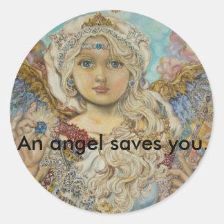 yumi sugai  angels, An angel saves you. Classic Round Sticker
