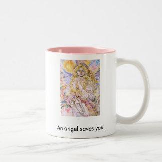 yumi sugai  angels, An angel saves you. Two-Tone Coffee Mug