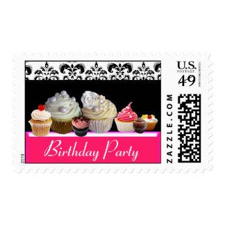 YUMMY BIRTHDAY CUPCAKES DESERT SHOP, Black Damask Postage Stamp