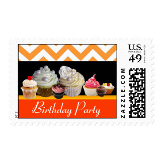 YUMMY BIRTHDAY CUPCAKES DESERT SHOP Orange Chevron Postage Stamp