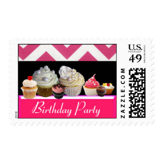 YUMMY BIRTHDAY CUPCAKES DESERT SHOP, Pink Chevron Postage Stamps
