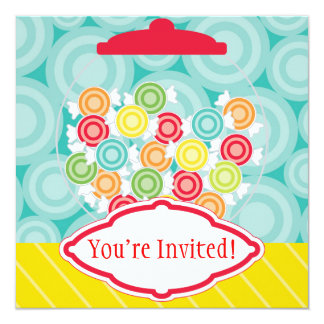 "Yummy Candy Bowl Birthday Party Invitation 5.25"" Square Invitation Card"