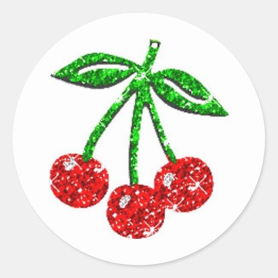 YUMMY CHERRIES GLITTER GRAPHICS FOODS FRUITS CLASSIC ROUND STICKER