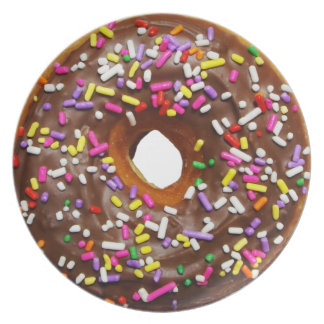 Yummy Chocolate Sprinkles Donuts - full sized Dinner Plate