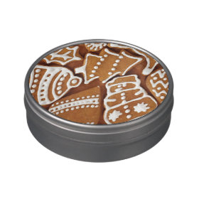 Yummy Christmas Holiday Gingerbread Cookies Candy Tin