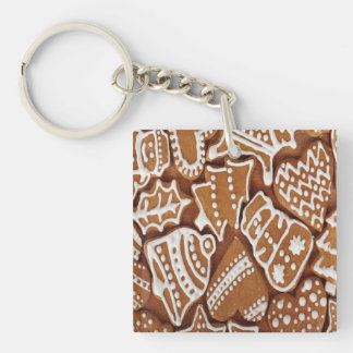Yummy Christmas Holiday Gingerbread Cookies Double-Sided Square Acrylic Keychain