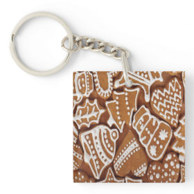 Yummy Christmas Holiday Gingerbread Cookies Square Acrylic Keychains