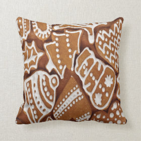 Yummy Christmas Holiday Gingerbread Cookies Throw Pillows