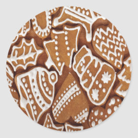 Yummy Christmas Holiday Gingerbread Cookies Round Sticker
