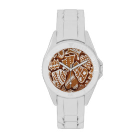 Yummy Christmas Holiday Gingerbread Cookies Wrist Watches
