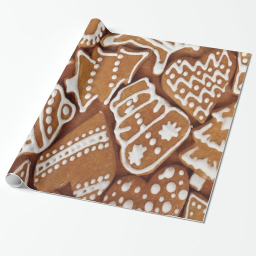 Yummy Christmas Holiday Gingerbread Cookies Wrapping Paper