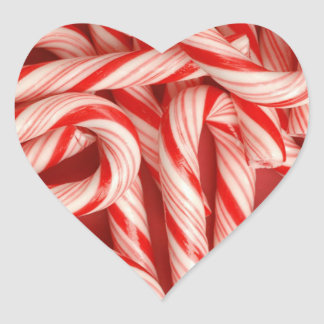 Yummy Christmas Holiday Peppermint Candy Canes Heart Sticker
