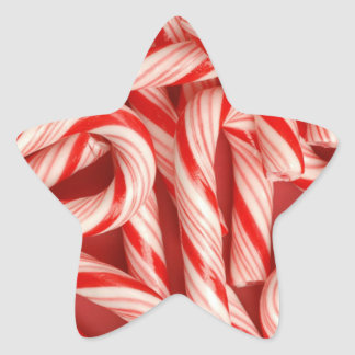 Yummy Christmas Holiday Peppermint Candy Canes Star Sticker