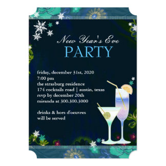 Yummy Cocktails New Year's Eve Party Card
