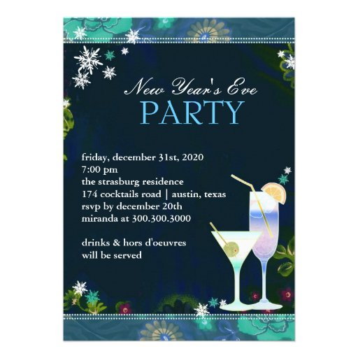 Yummy Cocktails New Year's Eve Party Flat Invites